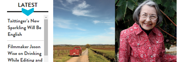 Food and Wine Article- The Godmother of Pinot Noir